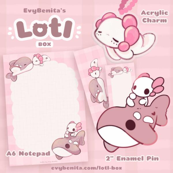 Lotl Box: a kawaii subscription box full of axolotl goodies from Evy Benita