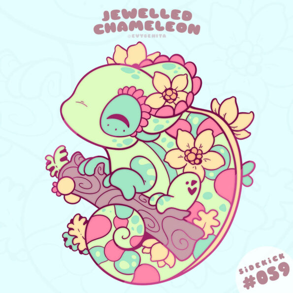 Kawaii Jewelled Chameleon enamel pin design by Evy Benita