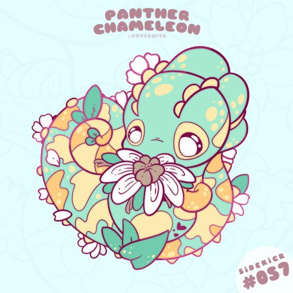 Kawaii Panther Chameleon enamel pin design by Evy Benita
