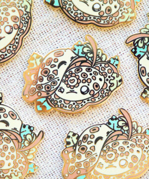 Adorable stingray enamel pins designed by Evy Benita, and featuring the Ocellate River Ray.