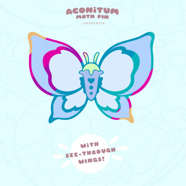 Aconitum stained glass moth enamel pin (pre-order)
