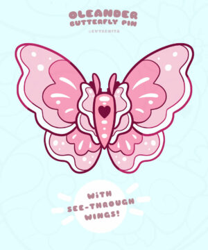 """""""Oleander Butterfly"""" stained glass enamel pin by Evy Benita"""