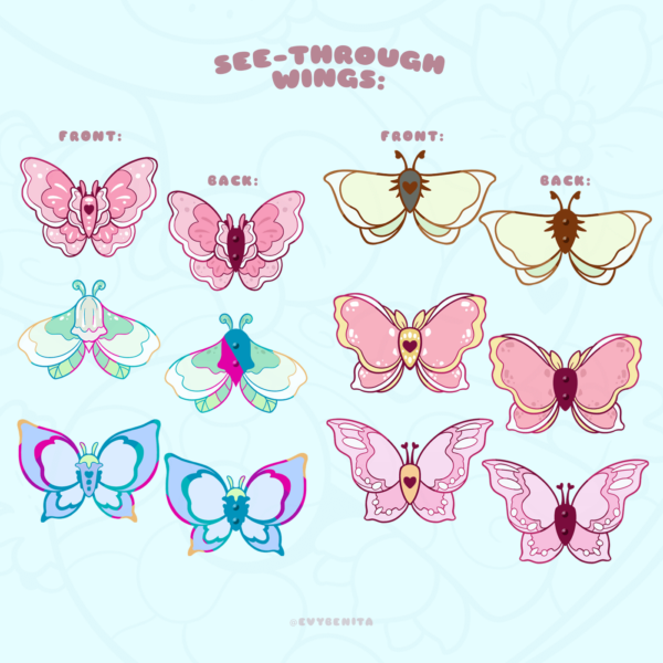 """This image shows the full set of my """"Flower Moths and Butterflies"""" enamel pin designs. The visuals demonstrate how the wings of each pin have no metal backing. This allows you to see the enamel on both sides. The enamel on the wings is see-through, so that you can hold the pins up to catch sunlight."""