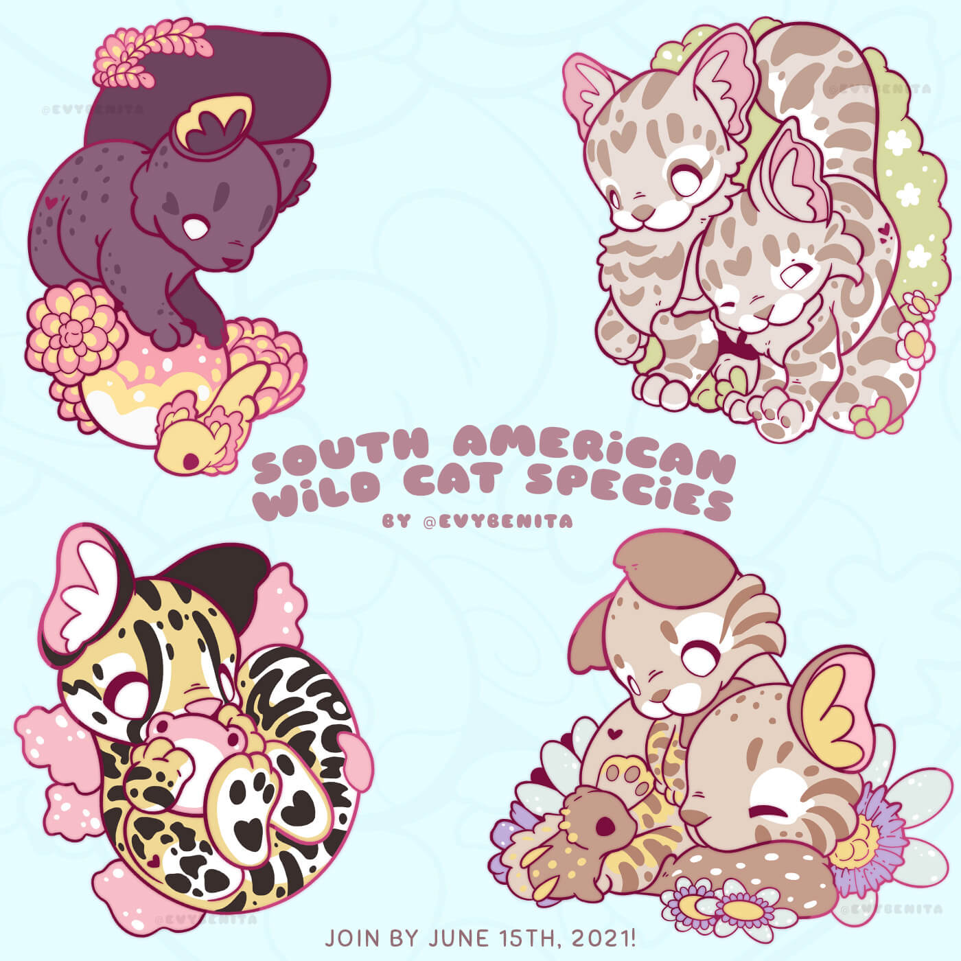 A set of four adorable wild cat enamel pins by Evy Benita. Each pin will be made with hard enamel and rose gold plating. The set features a jaguarundi, two Andean mountain cats, one oncilla (Northern tiger cat), and two pampas cats. The pampas cats are visited by a curious porcupine, and the jaguarundi is looking at an axolotl who's casually swimming by.