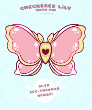 Checkered Lily stained glass moth enamel pin (pre-order)