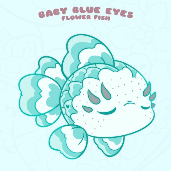 """""""Baby Blue Eyes"""" kawaii fish enamel pin by Evy Benita"""