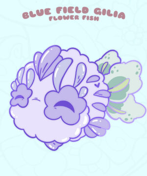 """Blue Field Gilia"" kawaii fish enamel pin by Evy Benita"