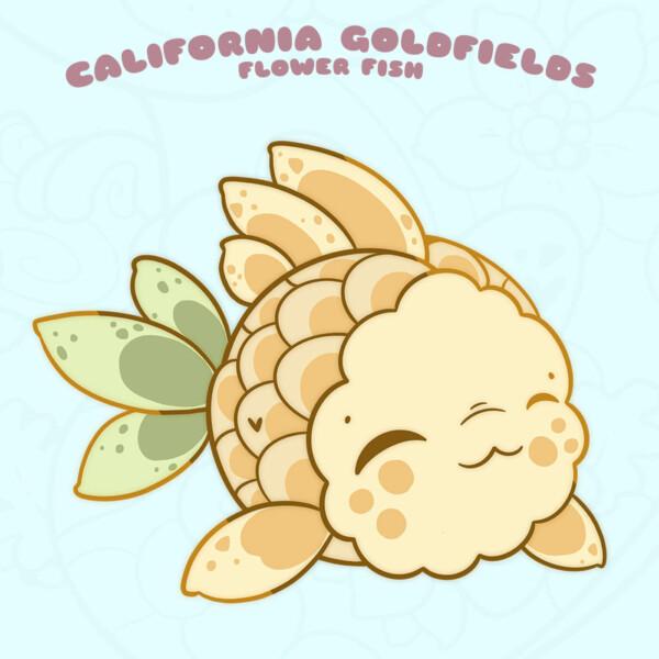 """California Goldfields"" kawaii fish enamel pin by Evy Benita"