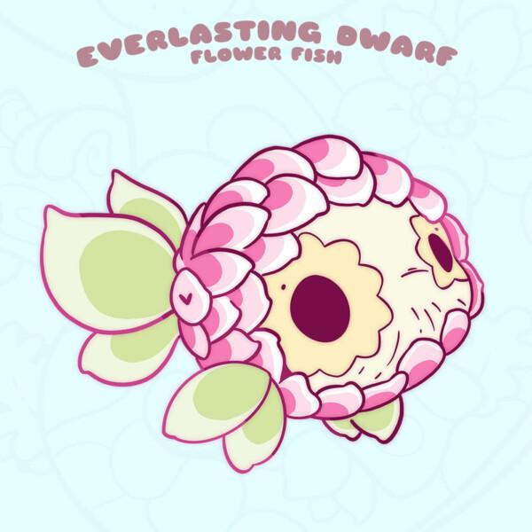 """Everlasting Dwarf"" kawaii fish enamel pin by Evy Benita"