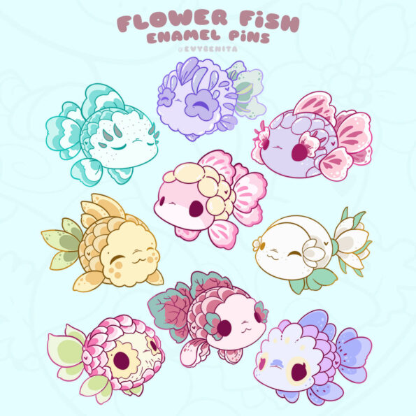 Shows the full set of my kawaii fish enamel pin design collection