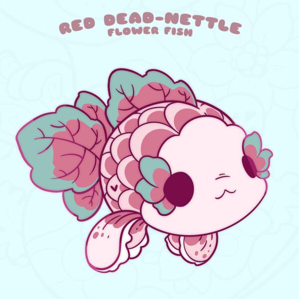 """""""Red Dead-Nettle"""" kawaii fish enamel pin by Evy Benita"""