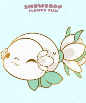 """Snowdrop"" kawaii fish enamel pin by Evy Benita"