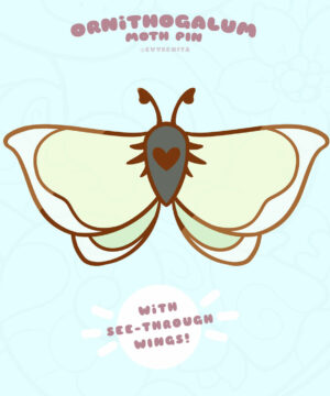 """""""Ornithogalum Moth"""" stained glass enamel pin by Evy Benita"""