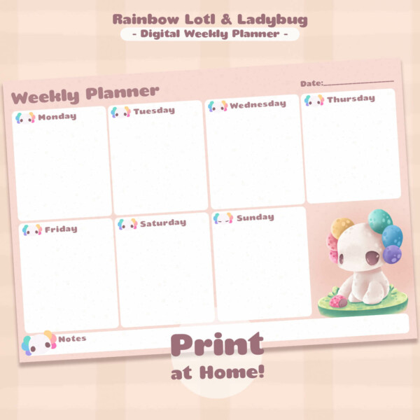 A print-at-home monthly planner page featuring a rainbow Lotl and a tiny ladybug.