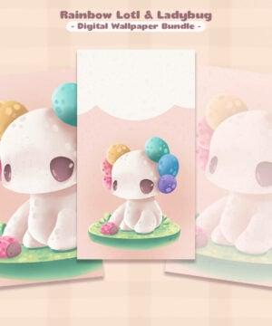 A kawaii wallpaper pack featuring my rainbow axolotl, Pride Lotl!