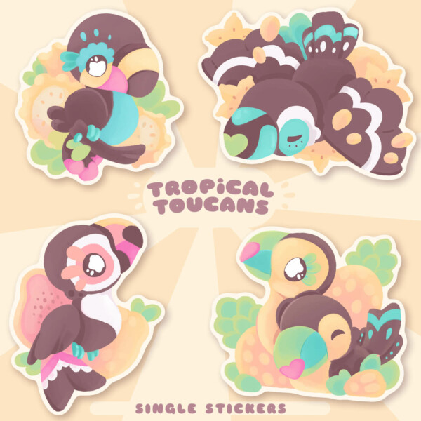 Kawaii toucans waterproof sticker by Evy Benita