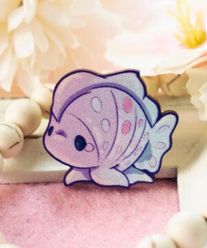 Kawaii frogfish wooden pin illustrated by Evy Benita