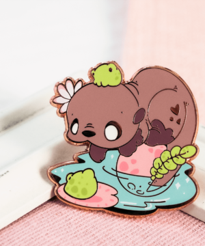 Kawaii southern river otter enamel pin with cute frogs