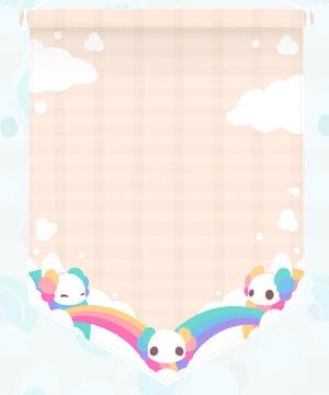 An enamel pin display banner design featuring kawaii axolotls backed by rainbows and cartoon clouds