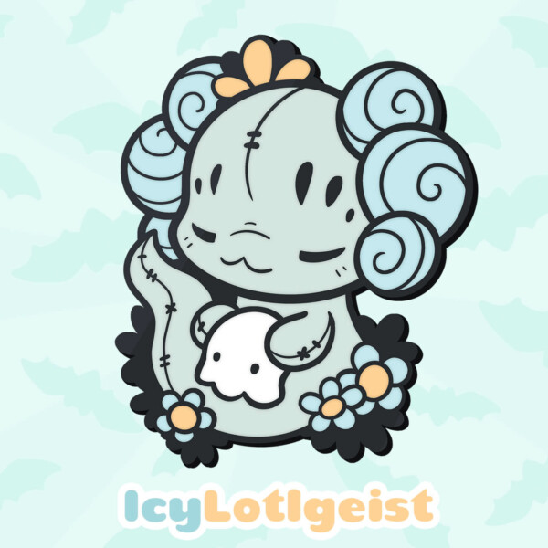 Icy Lotlgeist: an icy blue mix of a Lotl and a poltergeist