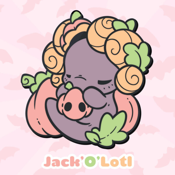 Jack'o'Lotl: a Lotl cuddled up with a small jack'o'lantern, and surrounded by pumpkins and leaves