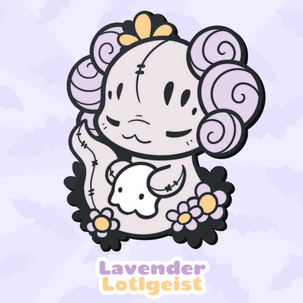 Lavender Lotlgeist: a lilac mix of a Lotl and a poltergeist